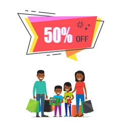 50 off for all goods to go shopping with family vector