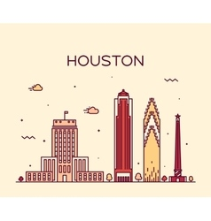 Houston skyline trendy linear vector