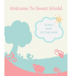 Cute pastel gentle filed for new baby born welcome vector