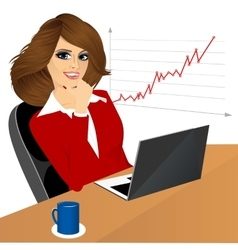Business woman with laptop in the office vector