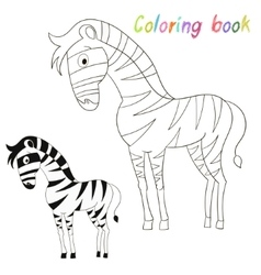 Coloring book bird zebra kids layout for game vector