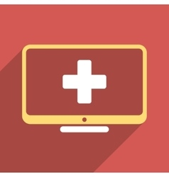 Medical monitor flat square icon with long shadow vector