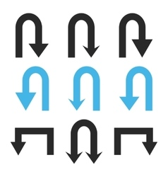 Turn back arrows flat icon set vector