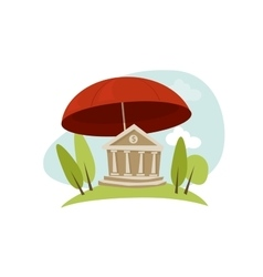 Bank insurance protection umbrella vector