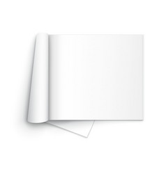 Blank open magazine template on white background vector
