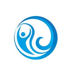 Abstract circle human wave logo image vector