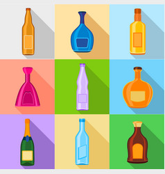 Alcoholic drinks bottles icons set flat style vector