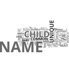 Baby names unique or common text word cloud vector
