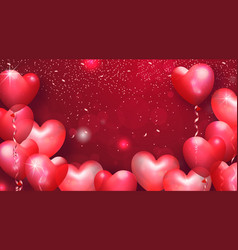 beautiful background with heart shaped air vector image