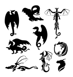 Big set of dragons vector