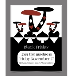 Black friday sale in wonderland banner card vector