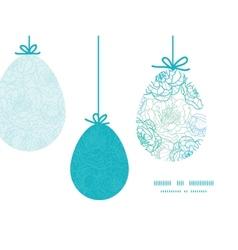 Blue line art flowers hanging easter eggs vector