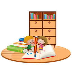 boy and girl writing on big notebook vector image
