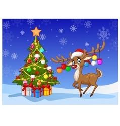 Cartoon deer standing next to Christmas tree vector image