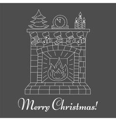 Christmas fireplace and socks isolatedon vector