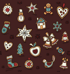 christmas seamless pattern with gingerbreads vector image