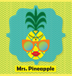 colorful cool mrs pinapple fruit emblem icon vector image vector image