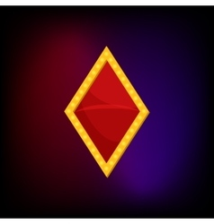 Diamond suit icon in cartoon style vector