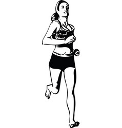 Drawing of running woman silhouette vector