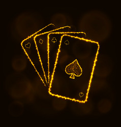 Game cards silhouette of lights casino symbol vector