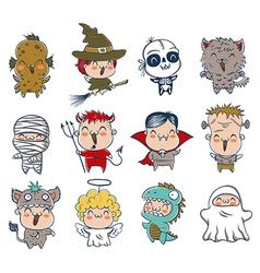 halloween kids costumes vector image vector image