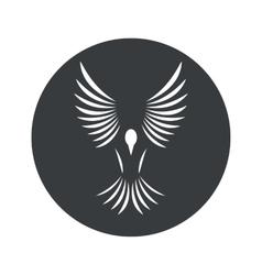 Monochrome round bird icon vector