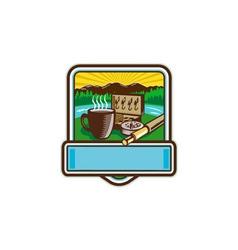 Mug fly tackle bait box rod reel crest woodcut vector
