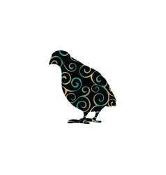 Partridge bird color silhouette animal vector