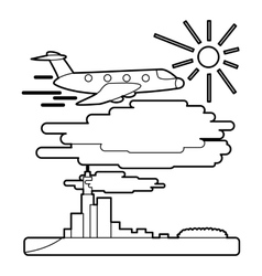 Plane flies over city concept outline style vector