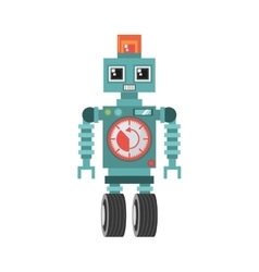 Robot machine alarm clock wheel siren vector