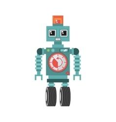 robot machine alarm clock wheel siren vector image