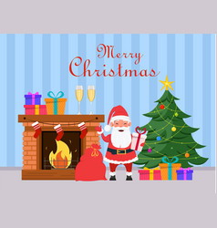 Santa claus holding gift box and standing near vector