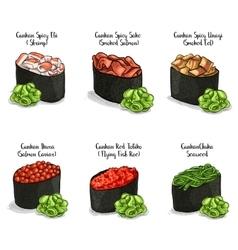 set color sketch Gunkan Sushi vector image
