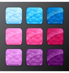 Set of backgrounds with clouds for the app icons vector image vector image