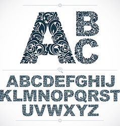 Set of beautiful capital letters decorated with vector image