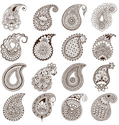 set of paisley on white background vector image