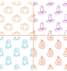 simple halloween doodle patterns vector image vector image