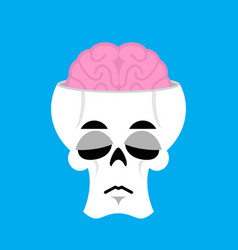 Skull and brain sad emoji skeleton head sorrowful vector
