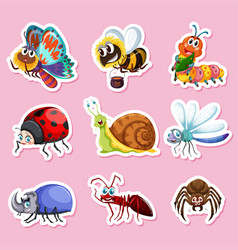 sticker designs for different bugs vector image