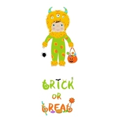 Trick or treat halloween card with cute monster vector