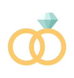 wedding rings icon flat design vector image