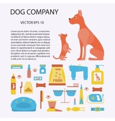 Concept with dog care isolated elements vector