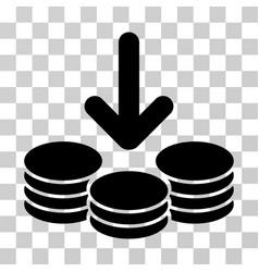 Income coins icon vector