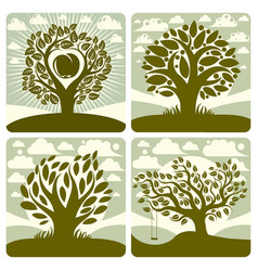 Art of green trees with swing growing on vector