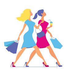 Silhouette of women with shopping bags silhouette vector