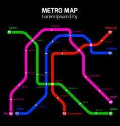 Colors metro or subway city map concept vector
