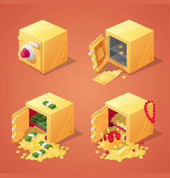 Safe boxes set for game interface vector