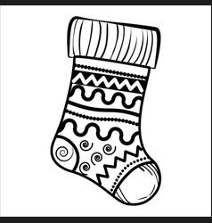 Sketch christmas sock vector