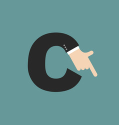 c letter businessman hand font it shows finger vector image