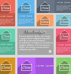 Close icon sign set of multicolored buttons metro vector
